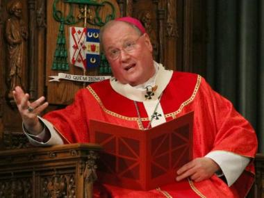 Archbishop Timothy M. Dolan speaks during Palm Sunday Mass at St. Patrick's Cathedral in New York, Sunday March 28, 2010.