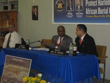 Sens. Bill Perkins (l.) and Jose Serrano at the East Harlem African Burial Ground public hearing Friday.