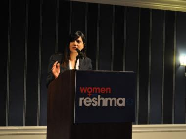 Reshma Saujani addresses supporters at a breakfast fundraiser Monday, March 8.
