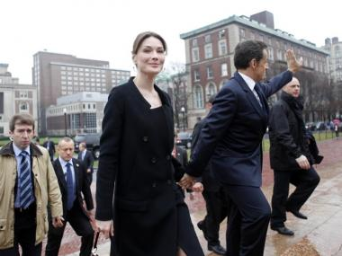 Carla Bruni-Sarkozy and her husband, French President Nicolas Sarkozy, arrived at the World Leaders Forum at Columbia on Monday.
