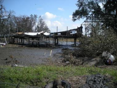 The homes in Bayou Pointe-au-Chien have been battered by a series of hurricanes, most recently after Hurricane Gustav in 2008.