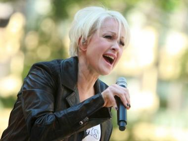 Singer Cyndi Lauper performs on ABC's 'Good Morning America' on June 13, 2008 at Bryant Park in New York City.