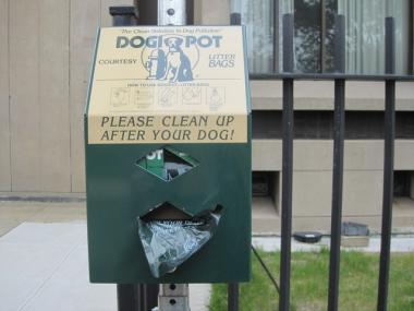 A clean-up station for dogs that neighborhood preservationists say was illegally installed.