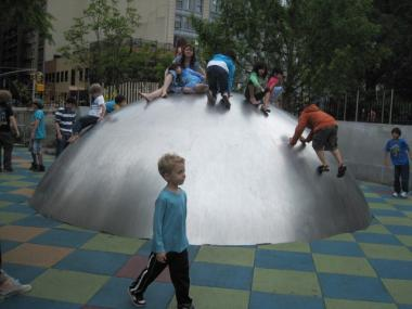 The dome at Union Square's new playground was open on Sunday after being closed off Friday.