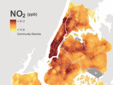 A map released by the Department of Health shows levels of air quality throughout the city.