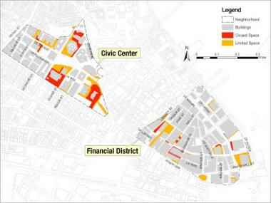 Over 15 acres of public space in the Civic Center and 8 acres in the Financial District are restricted by security measures, represented by the red and orange areas above.