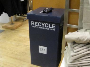 The GAP store on West 57th Street had a plastic bag recycling bin on display, as is required by state law.