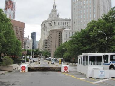 Park Row in Chinatown, looking south from Chatham Square. The stretch has been closed to traffic since the 9/11 attacks.