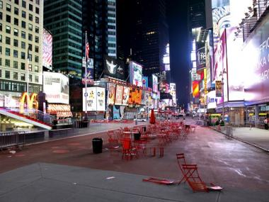 Times Square is void of pedestrians just south of 46th Street in New York Saturday, May 1, 2010. Police have closed some streets in New York City's Times Square as they investigate a car that has been