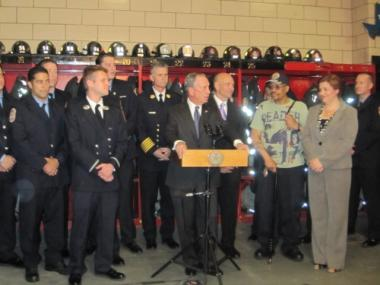 Mayor Bloomberg, speaking at a midtown firehouse on Tuesday, thanked Times Square vendor, Lance Horton, and the firefighters of Engine Co. 54 for their help in preventing last week's attempted terrorist attack.
