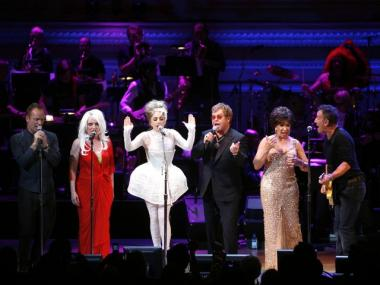 From left, Sting, Debbie Harry, Lady Gaga, Sir Elton John, Dame Shirley Bassey and Bruce Springsteen perform together during the Rainforest Fund's 21st Birthday Celebration benefit concert at Carnegie Hall Thursday, May 13, 2010 in New York.