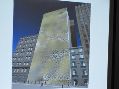A rendering of the proposed $100 million mosque and community center on Park Place near Ground Zero.