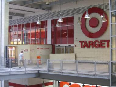 Work crews are preparing for the opening of Target at East River Plaza in East Harlem in July.
