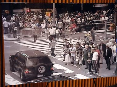 This still photo from a surveillance camera, released by the NYPD, shows the Nissan Pathfinder used in the attempted attack on Times Square passing through Times Square early on Saturday evening.