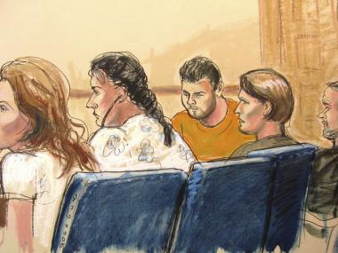 In this courtroom sketch, Anna Chapman (L.) Vicky Pelaez, second from left, the defendant known as