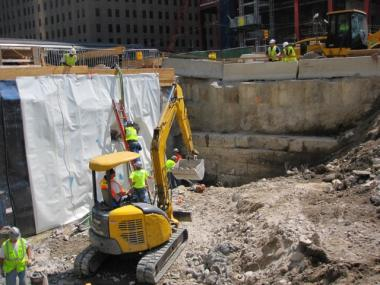 The historic river wall at the World Trade Center site was exposed during construction earlier this year. The modern wall, to the west, sprung a leak Thursday night.