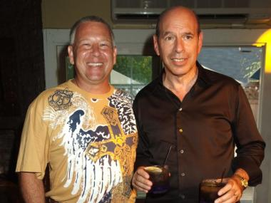 Jonathan Bristol (l) and Kenneth Starr (r) at a party for Starr's wife Diane Passage at the Pink Elephant in the Hamptons in July 2008.