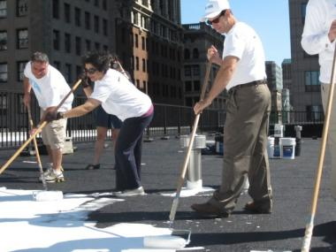 Buildings Commissioner Robert LiMandri and his senior staff members painted the roof of their headquarters Wednesday morning.