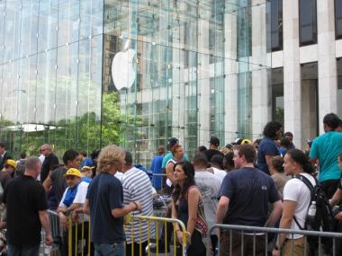 People waited for days outside the Apple store in midtown for the chance to buy a new iPhone 4G.