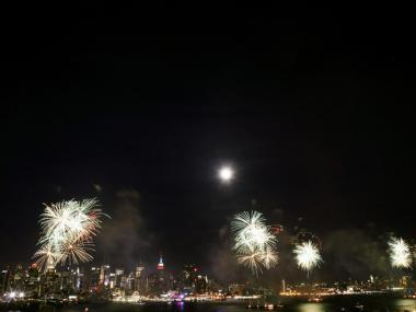 Fireworks explode over the New York City skyline on July 4, 2009.