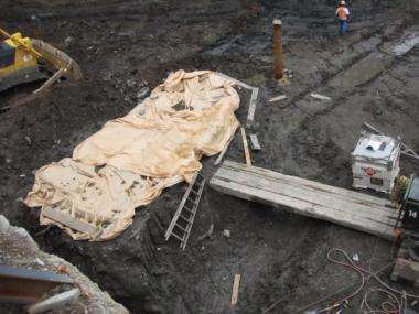 Work to excavate the Vehicle Security Center continued around the boat this week.