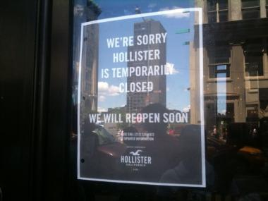 A closed-for-business sign in the window at the SoHo Hollister store gives would-be customers no information about the bedbug infestation problem inside.