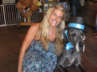 Amanda Byron, owner of The Salty Paw, with her Great Dane Tyras, who died on Sunday.