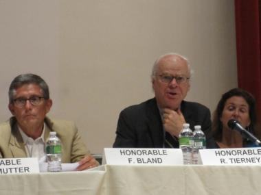 Landmarks Preservation Commission Chairman Bob Tierney, center, at a hearing on 45-47 Park Place last month.