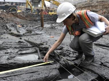 Workers at the WTC site unearthed a ship from the 18th century while digging near Liberty and Cedar Streets.
