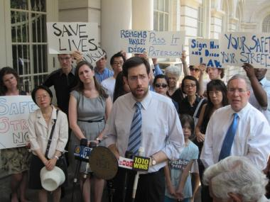 State Sen. Daniel Squadron (center), who introduced the legislation, spoke at a July press conference.