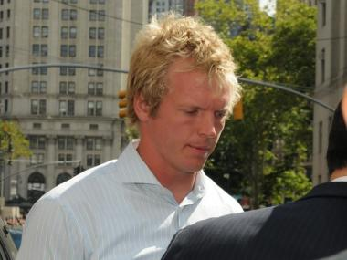 Chris Simms after his criminal court arraignment on July 1.