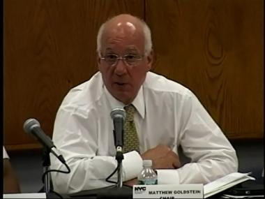 Commission Chair Matthew Goldstein at the hearing Monday evening.