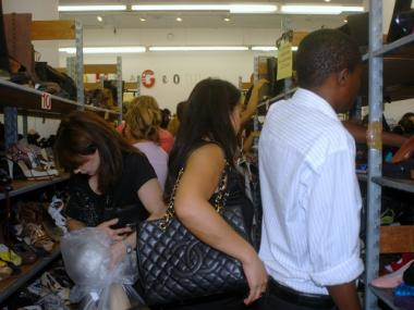 The shoe section of the sale was particularly hectic.