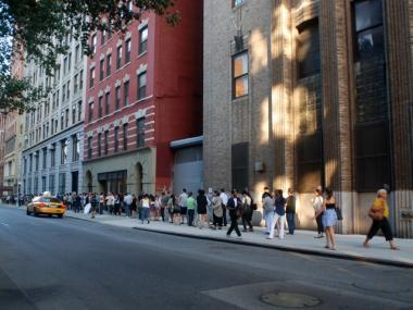 By 7:45 a.m. the line stretched down the block. The sale opened at 8 a.m.