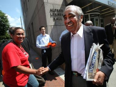 U.S. Rep. Charles Rangel (D-NY) departs after speaking at the Greater Harlem Chamber of Commerce's Economic Development Awards Luncheon at Columbia University on Aug. 5.