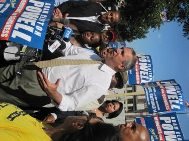 Powell spoke in front of supporters, including Assemblyman Jose Rivera, and near the state office building and avenue in Harlem named for his father.