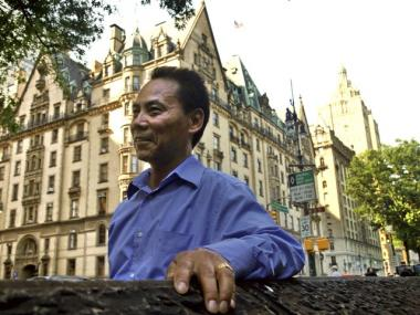 Former butler Indra Tamang outside his new home, the Dakota Building.