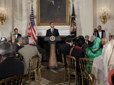 President Obama defended the Ground Zero mosque at a White House dinner celebrating the Muslim holy month of Ramadan on Friday night.
