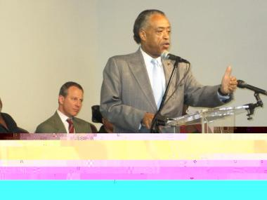 Rev. Al Sharpton speaks at at a National Action Network meeting about the shooting death of Luis Soto.