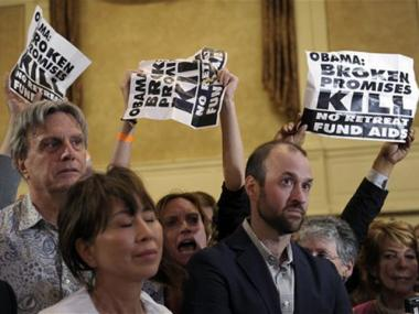 Protesters heckled President Obama at a fundraiser at the Roosevelt Hotel in Manhattan on Wednesday, September 22, 2010.