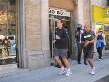 Fogle and Keflezighi were scheduled to run the two blocks on 59th Street between Fifth and Seventh Avenues, according to a statement.