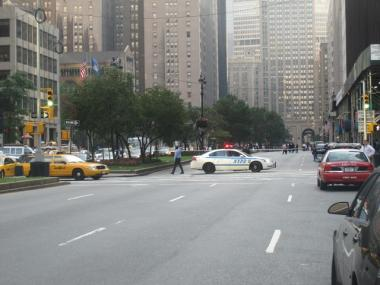 Police closed the East side of Park Avenue up to East 57th Street Thursday due to the suspicious package.
