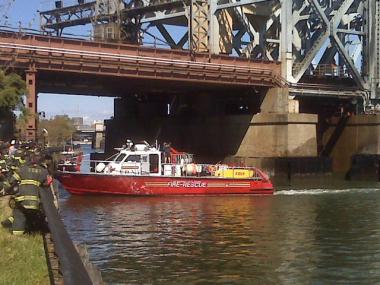 Fire boats battled the fire underneath a MTA lift bridge at 132nd Street and Hudson River Drive.