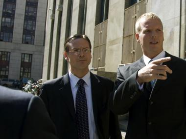 Chris Simms leaving Manhattan Supreme Court on Oct. 7.