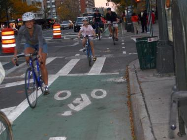 Cyclists took a celebratory ride down Columbus Avenue's new bike lane Thursday night.