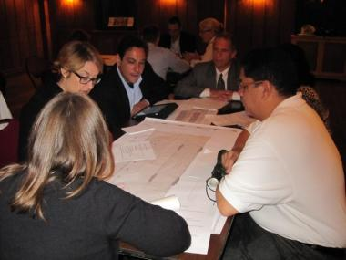 Members of Community Board 5 at a meeting last fall to brainstorm plans for a new Midtown plaza.