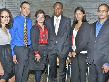 City College of New York President Dr. Lisa Staiano-Coico (third from left) with beneficiaries of her new President's Community Scholars Program. From left: Catherine Hernandez, Oscar Camacho, Daoud Nsangou, Liz Marie Peralta and Mohammed Sabha.