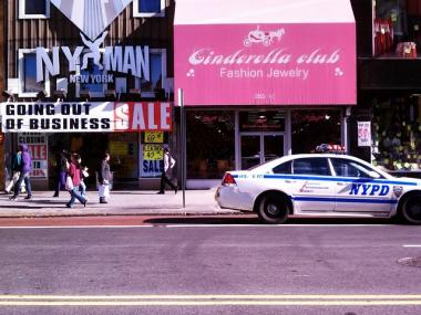 Police shut down 34th Street to traffic in both directions from Seventh to Eighth Avenue Wednesday morning.