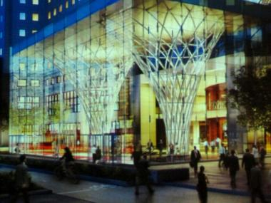Brookfield plans to construct this new glass pavilion along West St. to shepherd commuters from the World Trade Center pedestrian underpass into the World Financial Center.
