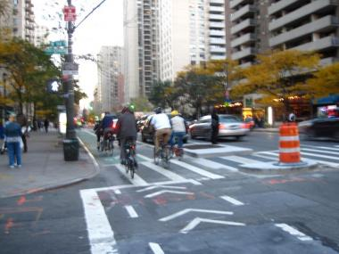 Cyclists took a celebratory ride down Columbus Avenue's new bike lane on Thursday night.
